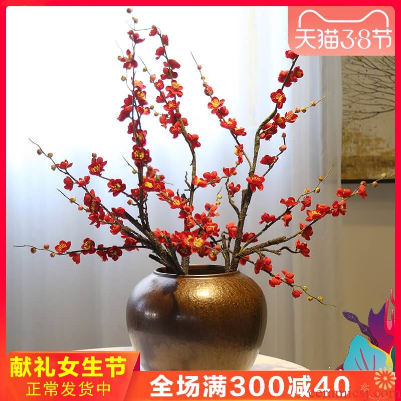 New Chinese style ceramic decorative vase restoring ancient ways is the sitting room the desktop flower flower decoration decorative furnishing articles tea table and what