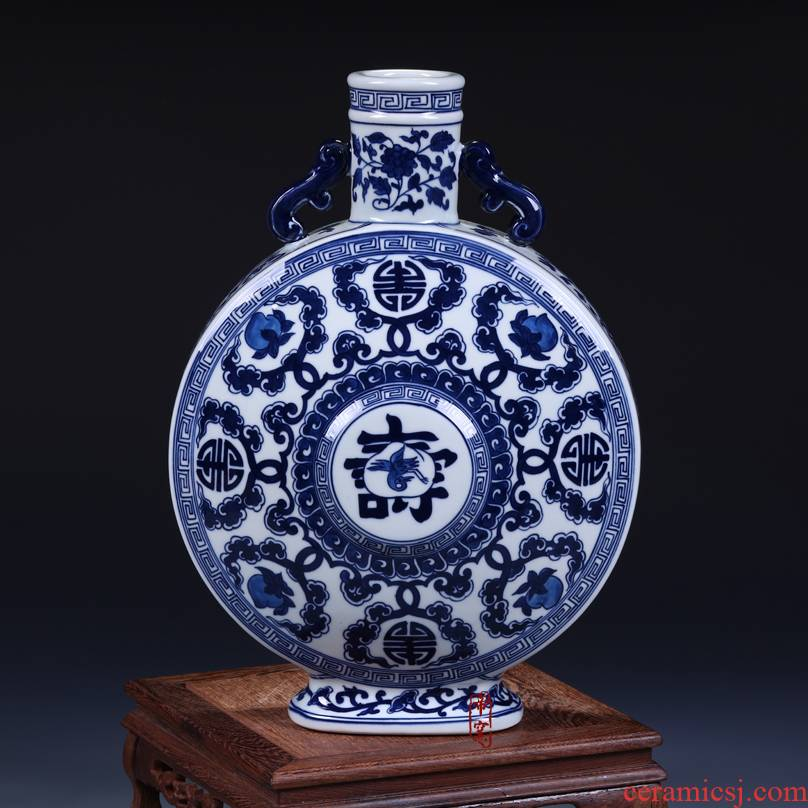Hand draw archaize live moonlight flat pot bottles of classical Chinese style living room decoration furnishing articles of jingdezhen ceramics vase