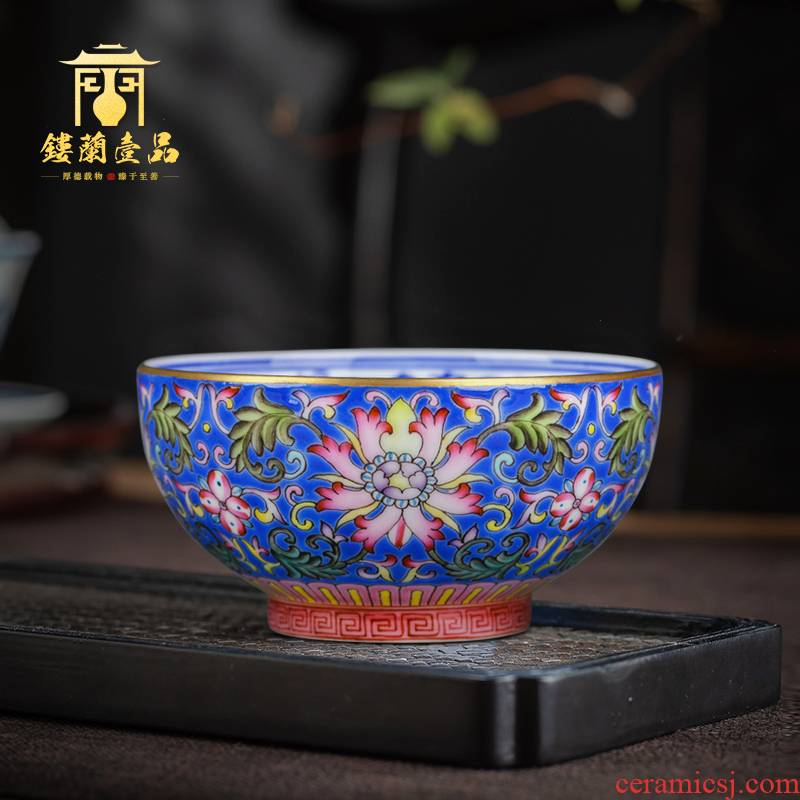 Jingdezhen ceramic hand - made ocean 's blue enamel to tie up branch lotus cup master cup single cup sample tea cup kung fu tea cups