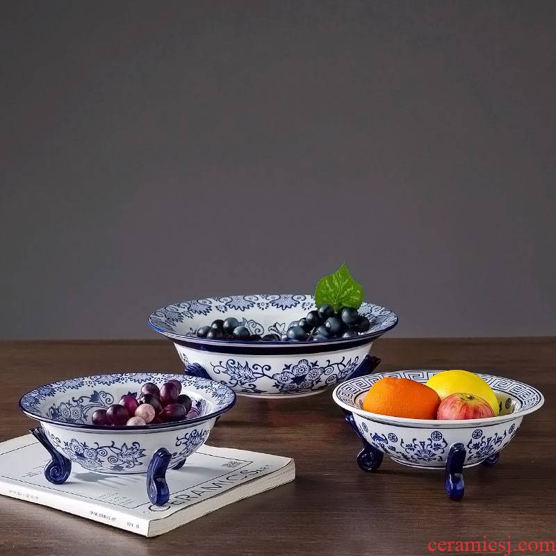 Jingdezhen ceramic fruit bowl ou shi to disc home tea table decorations office of snack plate furnishing articles
