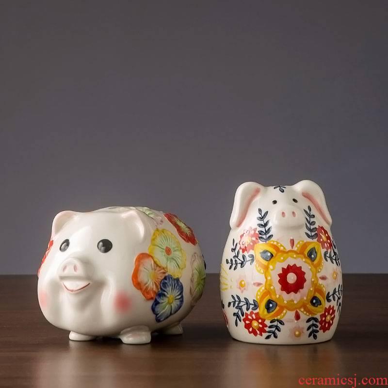 Piggy bank decorative furnishing articles adult children pocket money jar of jingdezhen ceramic creative gift express Piggy Banks
