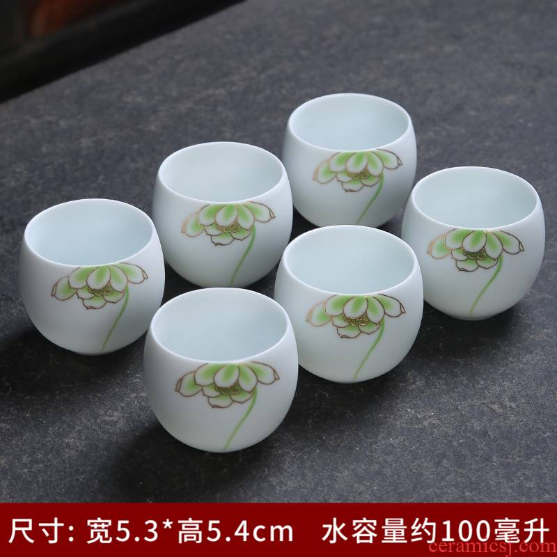 Up with inferior smooth fat white suit ceramic kung fu tea set single cup lid bowl of a complete set of household white porcelain sample tea cup