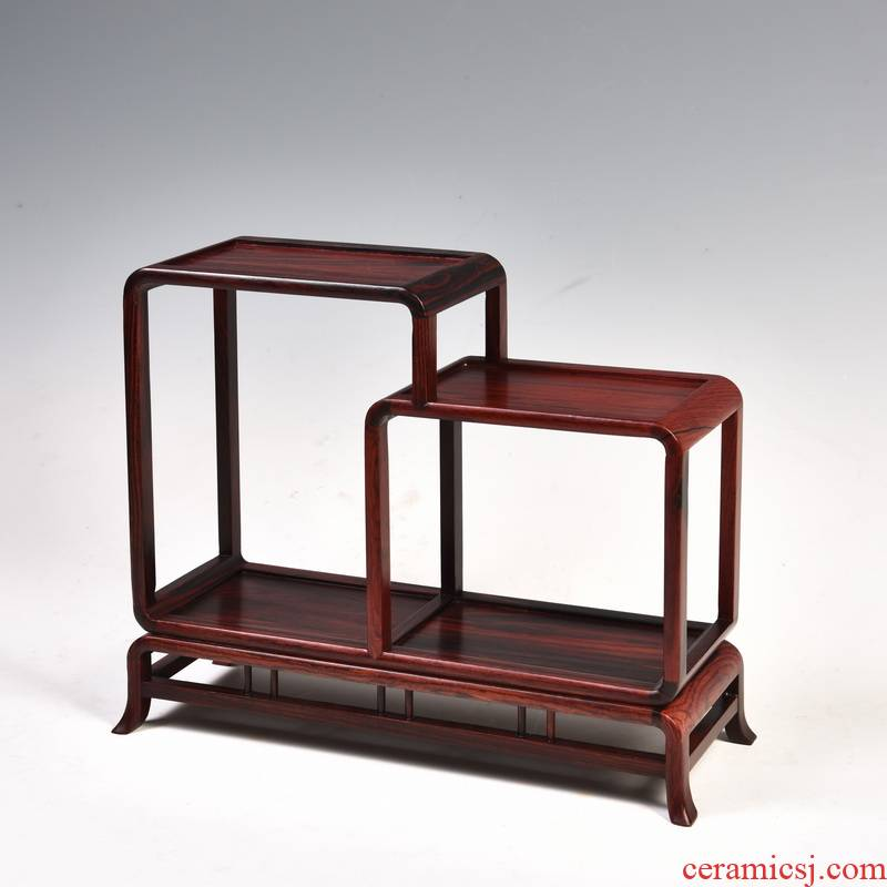 Small red acid branch m letters treasure cabinet rich ancient frame wood carving handicraft furnishing articles miniascape base ceramic tea pot - base frame