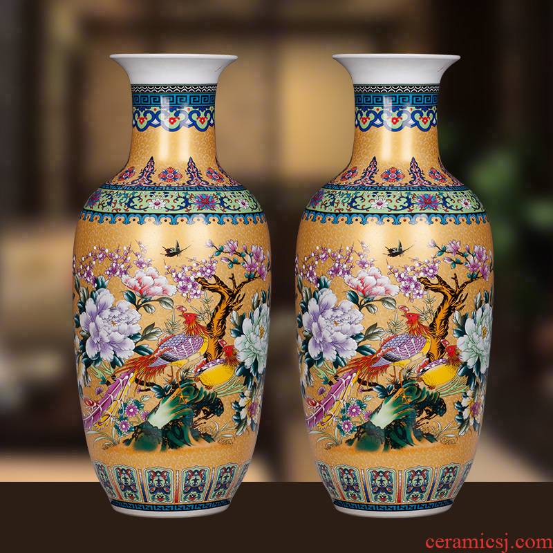 Jingdezhen pastel large vases, pottery and porcelain of modern fashionable sitting room ground flower European household adornment furnishing articles