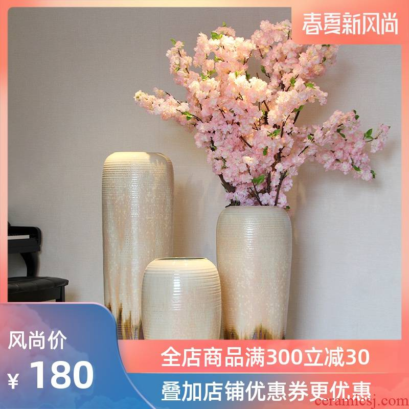 Color glaze up ceramic floor vase vase modern European sitting room decoration to the hotel home furnishing articles