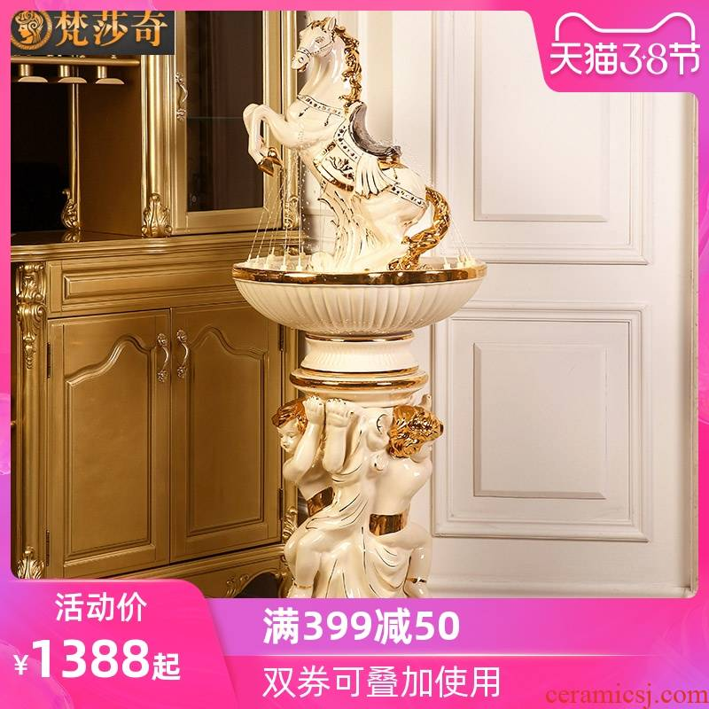 Water furnishing articles feng shui plutus European - style home sitting room ground humidifier gear shop ceramic fountain decorations