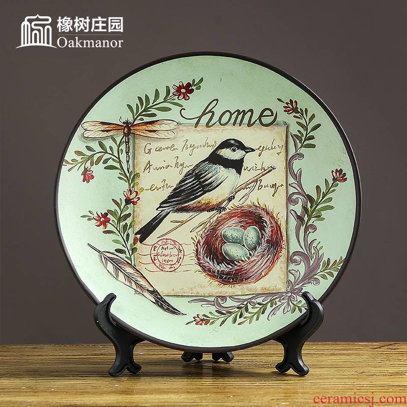 American ceramic disc decoration plate new Chinese creative home furnishing articles hanging dish plate stent handicraft decoration