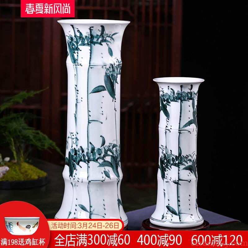 Jingdezhen ceramics lucky bamboo vase water raise flower arranging straight home sitting room ground large decorative furnishing articles