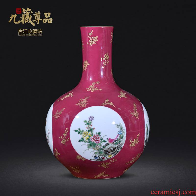 Jingdezhen ceramics the qing qianlong red see hand - made powder enamel vase in the living room to the home furnishing articles