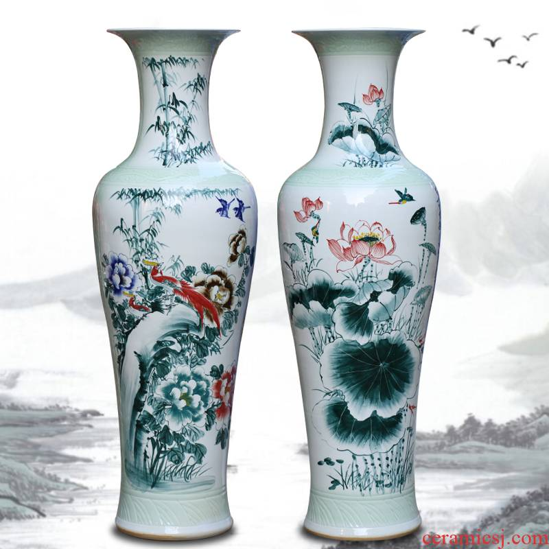 Jingdezhen ceramic vase of large sitting room hand - made of golden pheasant peony porcelain porcelain decoration large hotel furnishing articles