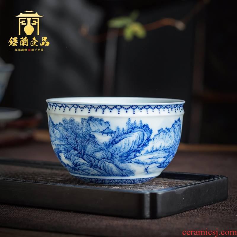 Jingdezhen blue and white landscape ceramic hand - made master cup kung fu tea set sample tea cup single cup large tea bowl of tea cups