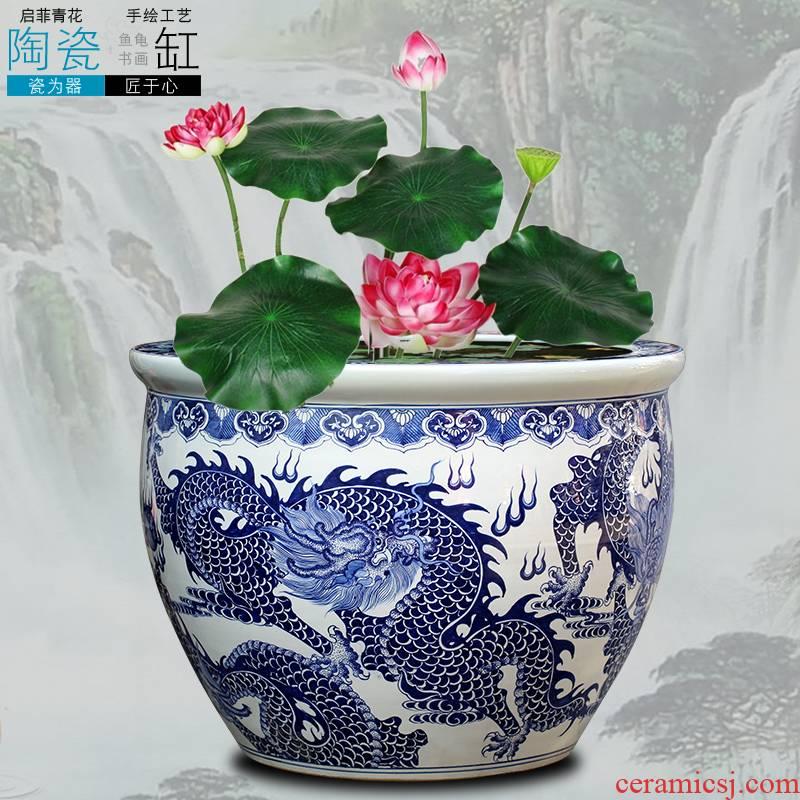 Jingdezhen ceramics aquariums sitting room informs the large gold fish basin water lily cylinder feng shui decoration