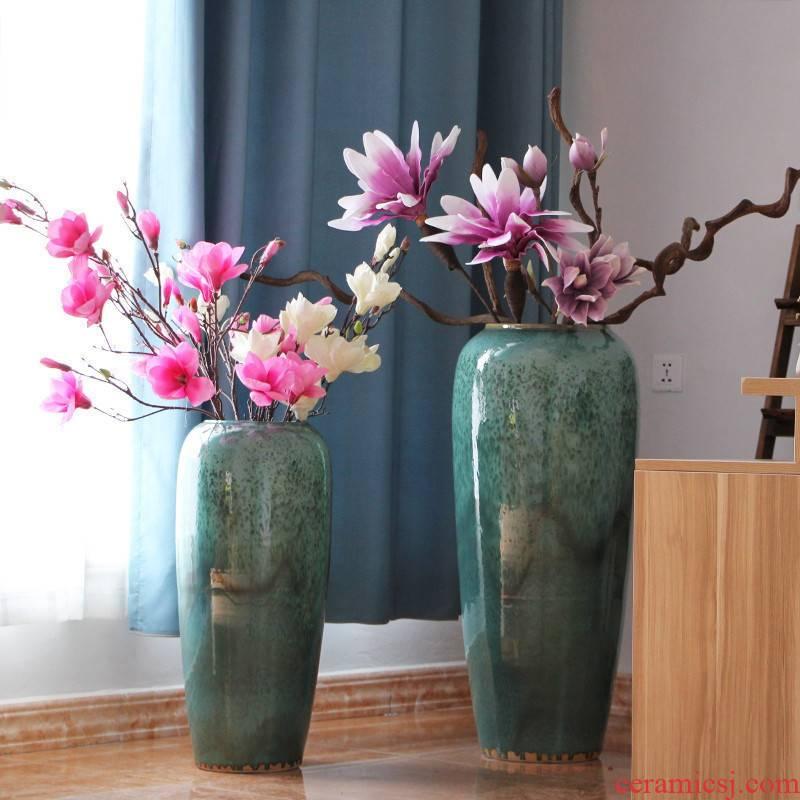 Dried flower color glaze up ceramic sitting room ground vase vase modern hotel flower arranging large vases, furnishing articles