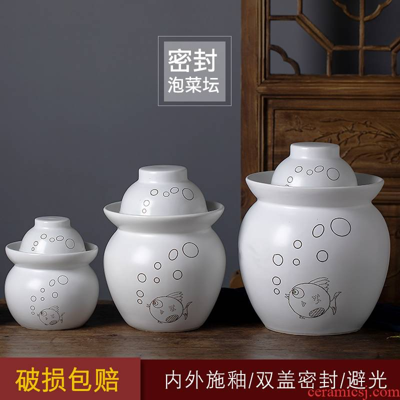 Jingdezhen ceramic pickles altar sichuan pickle jar thickening lead - free seal round family pickles cylinder storage tank