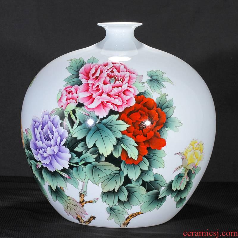 Famous jingdezhen hand - made vase peony figure sitting room TV ark, flower arranging rich ancient frame furnishing articles furnishing articles ceramics
