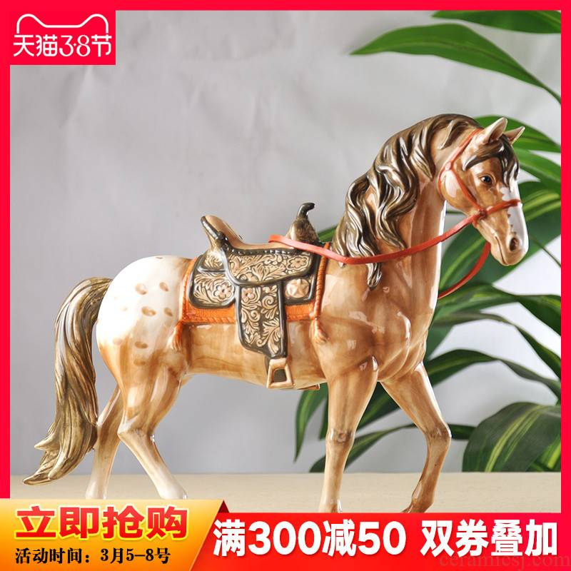 Business needs creative crafts continental shelf horse furnishing articles study home sitting room ark adornment ceramics