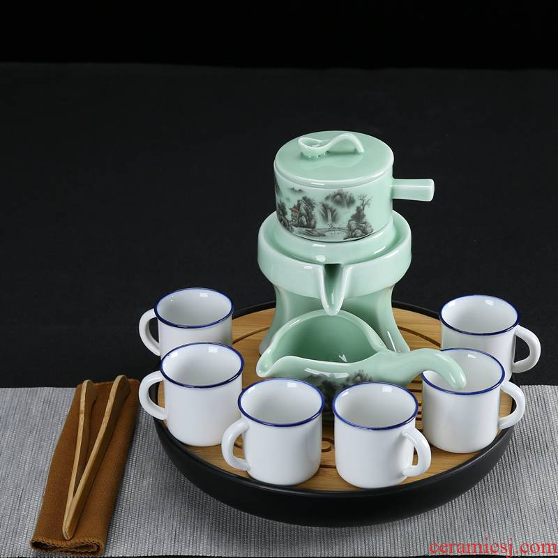 Celadon fortunes half automatic tea set stone mill lazy people make tea, and a complete set of ceramic tea tray household