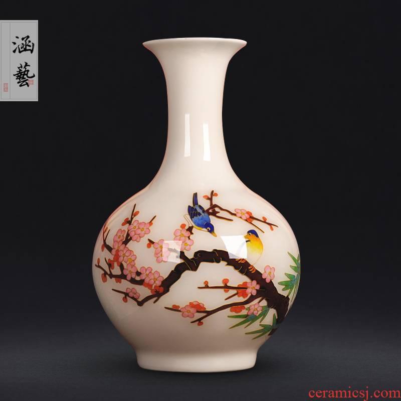 Jingdezhen ceramics gold straw beaming vases, new Chinese style flower arrangement sitting room adornment handicraft furnishing articles