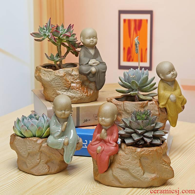 Language TaoXin meaty plant pot coarse pottery, the young monk zen simple flowerpot ceramic green plant pot, fleshy