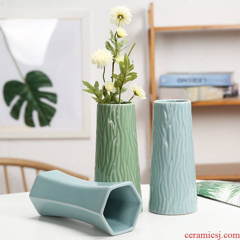 I and contracted celadon vase dried flower flower implement flowers water raise ceramic flower pot indoor household act the role ofing is tasted furnishing articles