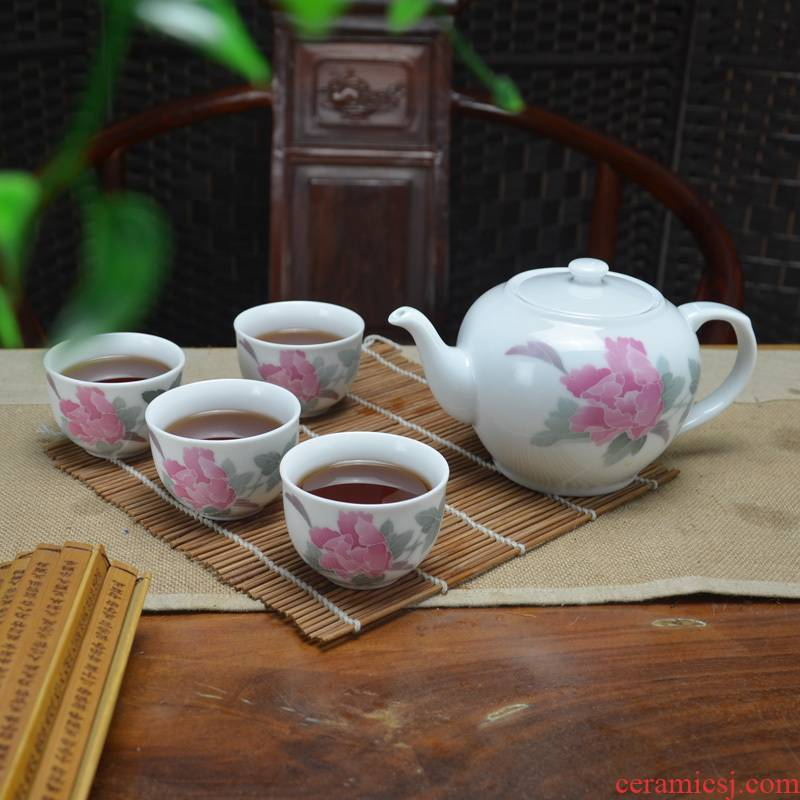 Liling ceramic new peony kung fu tea set hand draw large capacity of 4 cups of office coffee gift
