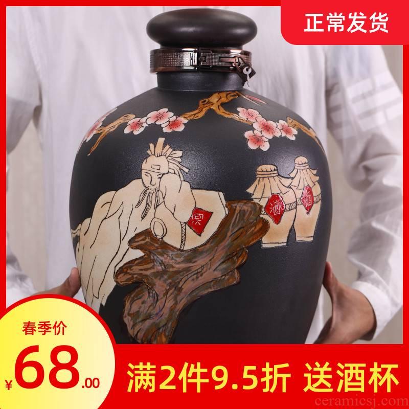 Jingdezhen ceramic jar it household hoard seal bottle wine pot leading to deposit 10 jins 50 kg wine