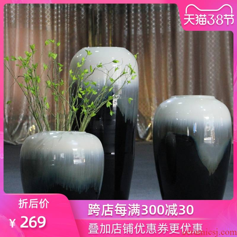 I and contracted, black - and - white industry of large wind jingdezhen ceramics vase furnishing articles hotel club villa decoration