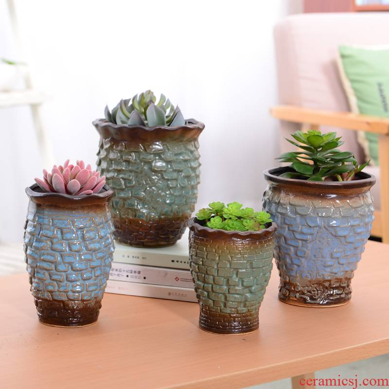 Coarse pottery move meaty plant flowerpot ceramic breathable small old running the mage a new flower, dried flower flower vase
