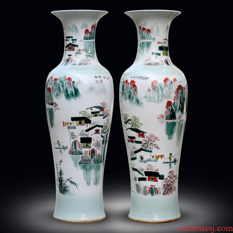 Jingdezhen sitting room of large vases, hand - made landscape decorations ceramics from a large study hotel furnishing articles at feel
