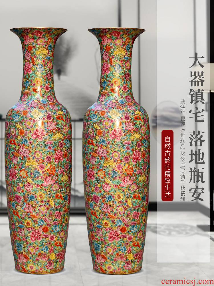 Jingdezhen ceramics of large vases, new Chinese style household courtyard sitting room TV setting wall adornment furnishing articles