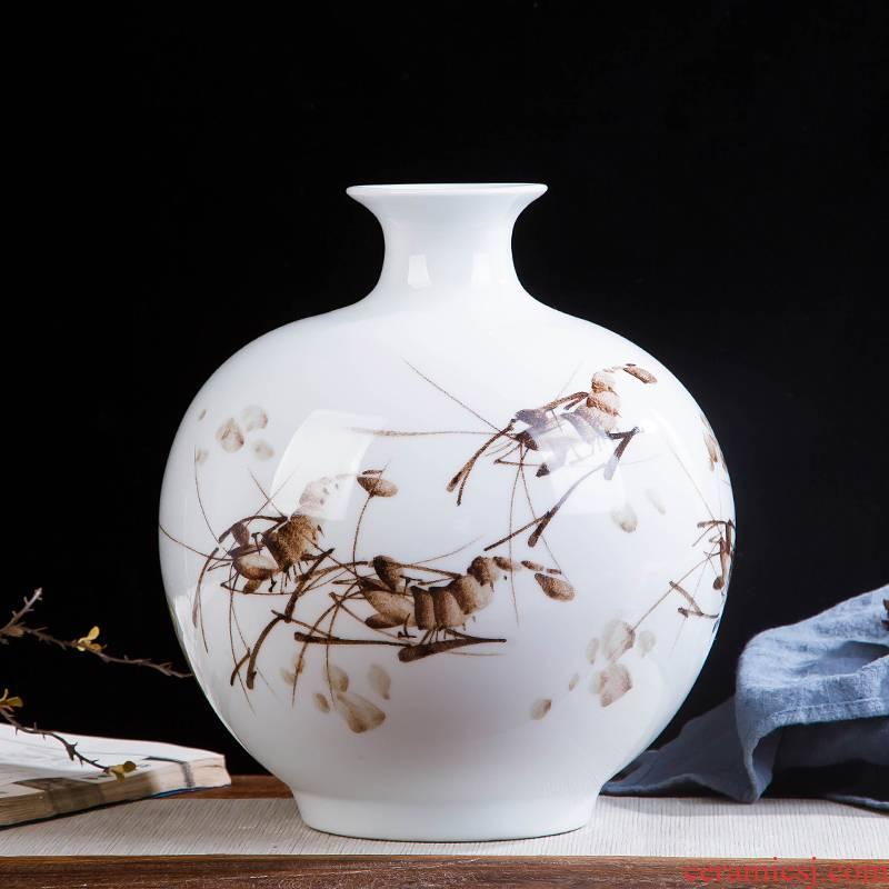 Jingdezhen ceramics hand - made shrimp boring vase wine porch home decoration sitting room TV ark, furnishing articles