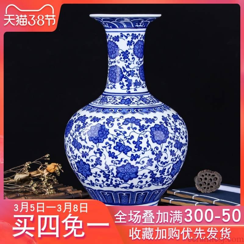 Jingdezhen ceramic vase furnishing articles sitting room flower arranging flower implement modern Chinese blue and white porcelain flower vases, decorative porcelain