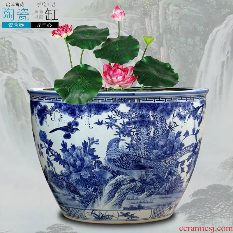 Jingdezhen blue and white porcelain floor furnishing articles hand - made of golden pheasant peony ceramic aquarium home sitting room adornment study