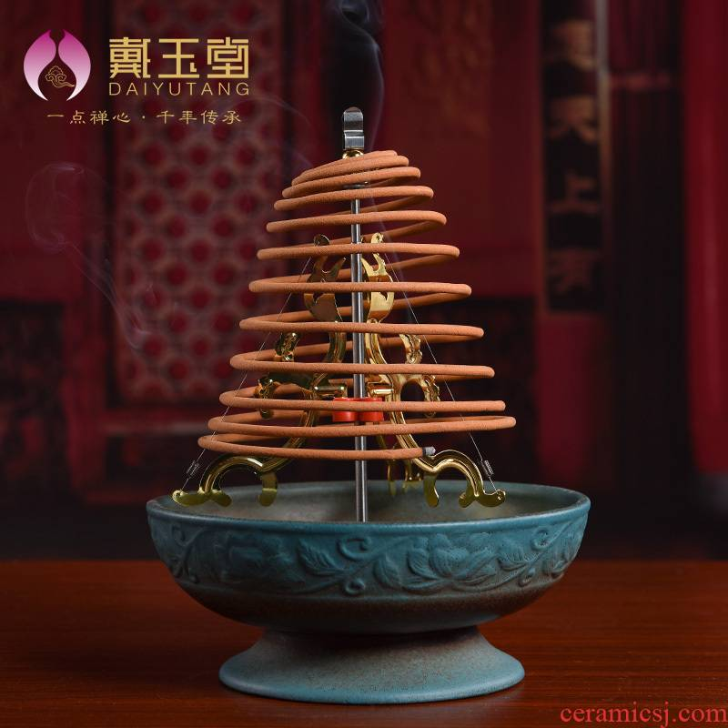 Yutang dai ceramic antique Chinese wind restoring ancient ways offering incense dish plate xiang xiang furnace for the Buddha temple Buddha with supplies