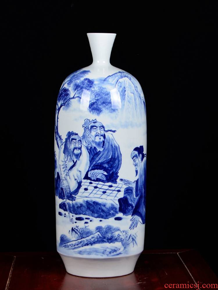 The Master of jingdezhen ceramics hand - made ornaments rich ancient frame blue and white porcelain vases, flower arrangement is the sitting room porch place