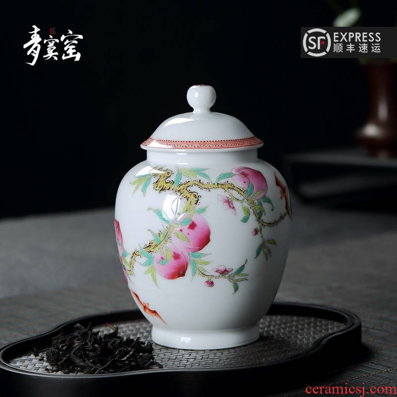 Its green up with jingdezhen ceramic powder enamel caddy fixings hand - made ceramic seal tank gift box packaging pu - erh tea storage POTS