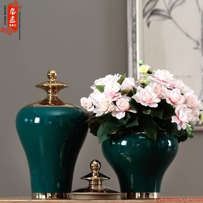 I and contracted gold - plated vase jingdezhen porcelain pot furnishing articles retro fresh green color glaze decorations by hand