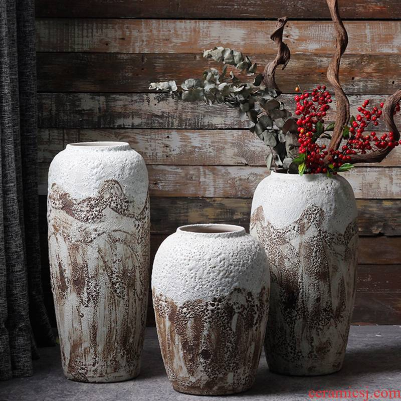 Jingdezhen ceramic checking coarse pottery landing Nordic flower vase soil POTS dry flower, flower pot sitting room adornment is placed