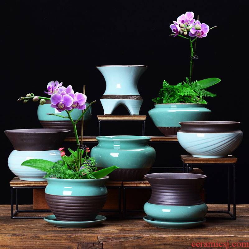 Creative fleshy flowerpot ceramic clearance package mail desktop small bonsai with tray bracketplant special butterfly orchid plant POTS