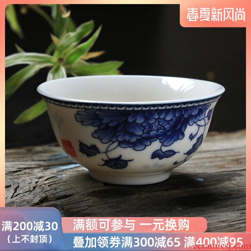 High white, blue and white porcelain cup sample tea cup ceramic kung fu tea set personal cup master cup a koubei noggin trumpet