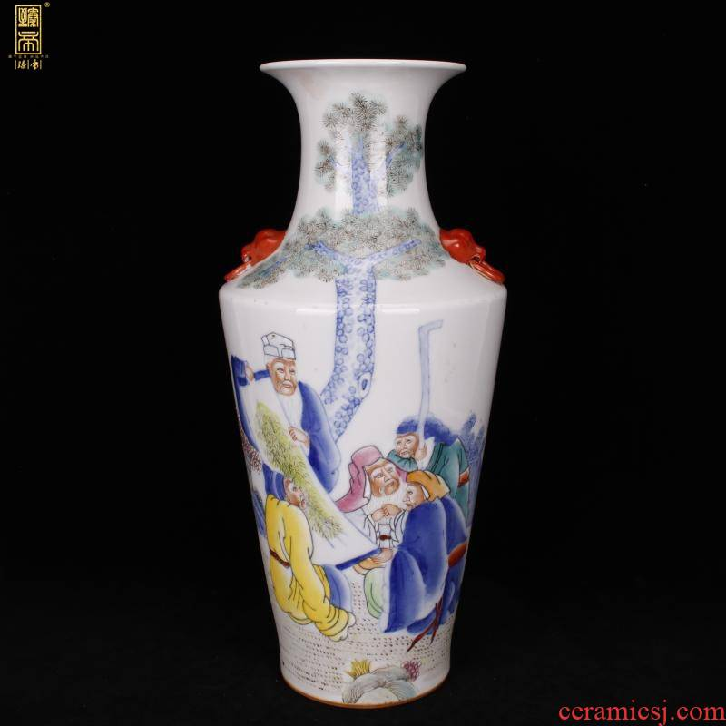Jingdezhen all hand - made pastel character lines vase imitation the qing xianfeng years antique antique furnishing articles boutique collection level