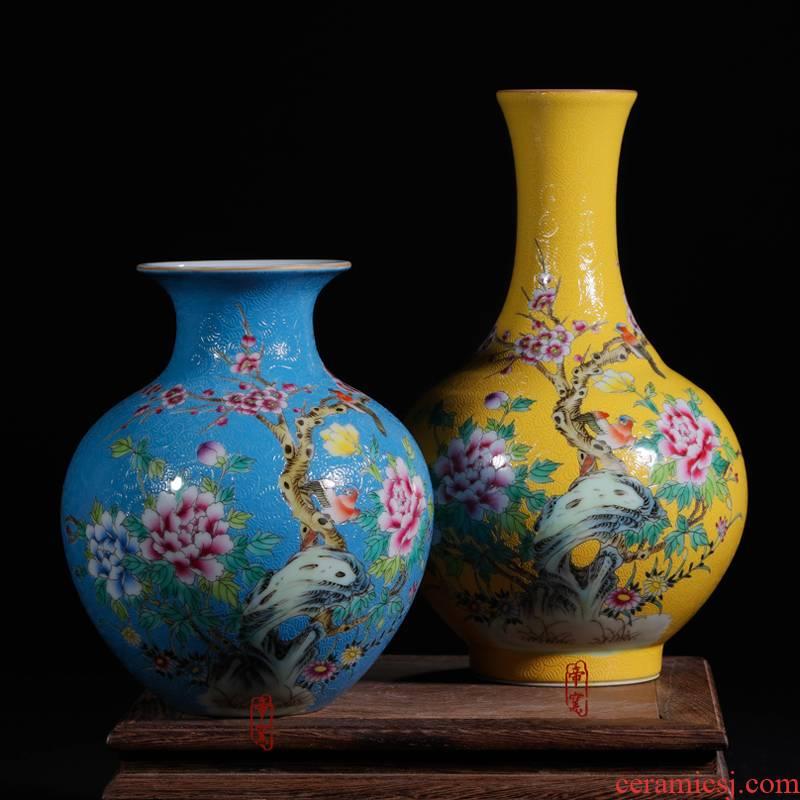 Furnishing articles enamel pastel colored antique hand - made floret bottle mini jingdezhen ceramics Chinese style decoration