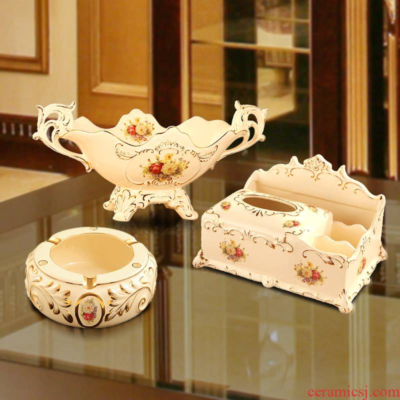 Europe type tea table furnishing articles suit key-2 luxury compote three - piece ceramic sitting room adornment desktop fruit dish ashtray