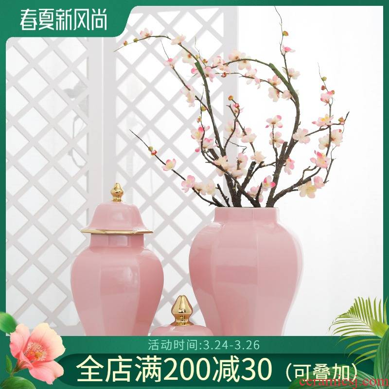 Jingdezhen ceramic light decoration key-2 luxury furnishing articles vase sitting room porch simulation flower arranging flowers, home decoration, flower art