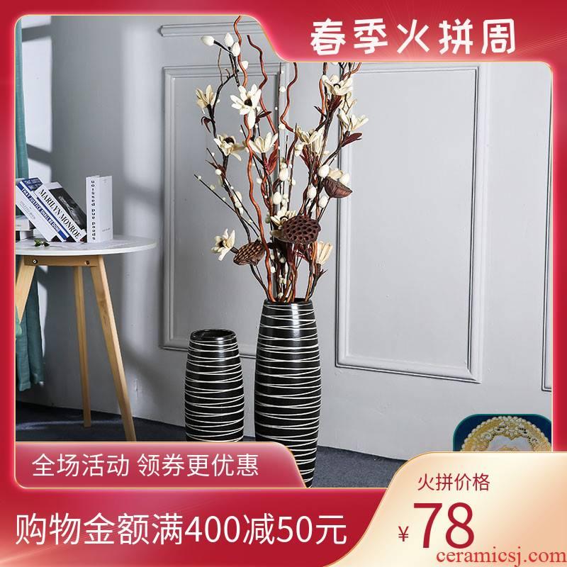 I and contracted sitting room flower arranging landing place, home decoration ceramic dry flower vases, black floral arrangements