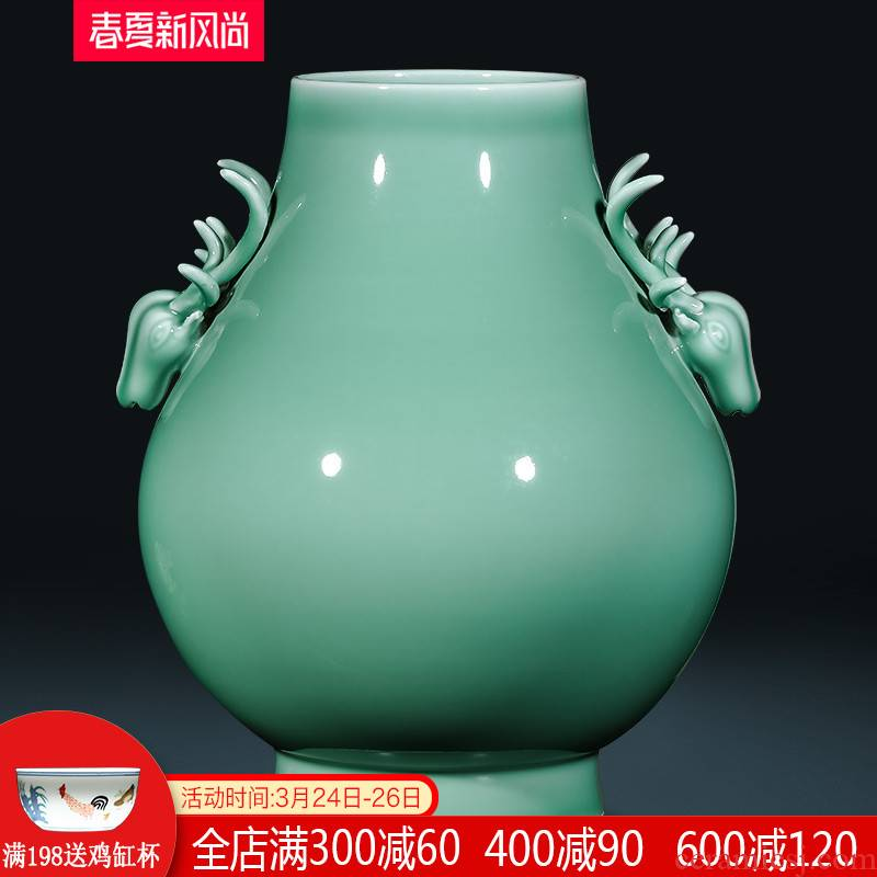 Jingdezhen ceramics creative shadow blue glaze ears vases, new Chinese style living room home wine ark, adornment furnishing articles
