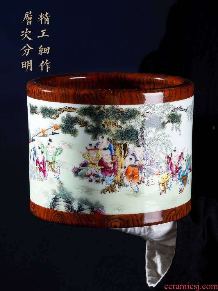 Jia lage furnishing articles YangShiQi jingdezhen ceramics powder enamel and name the ancient philosophers texture brush pot archaize porcelain vase