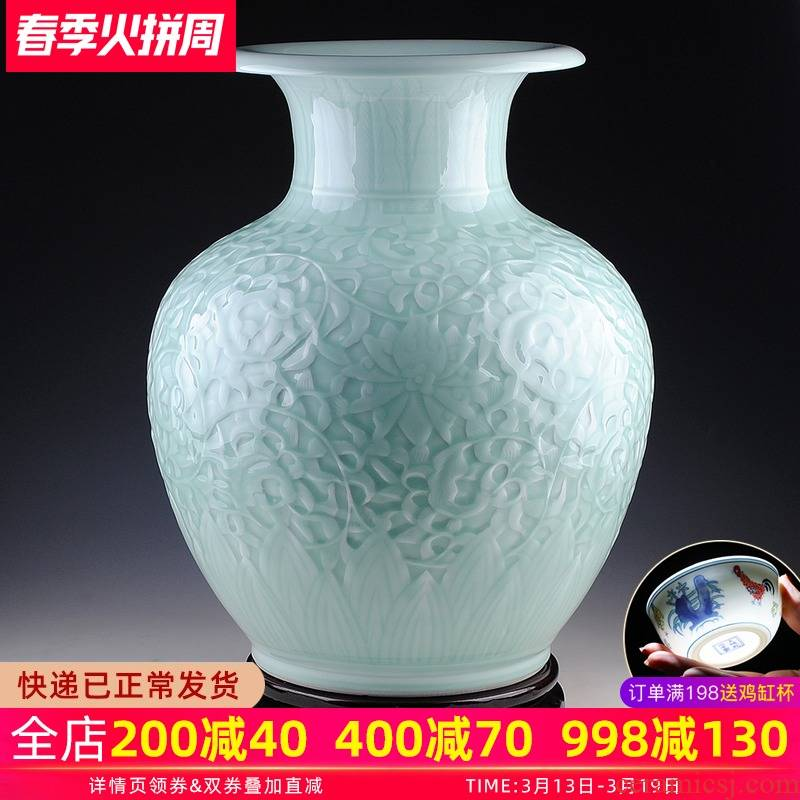Jingdezhen ceramic furnishing articles flower implement manual reliefs green glaze of large vases, famous master works sitting room adornment