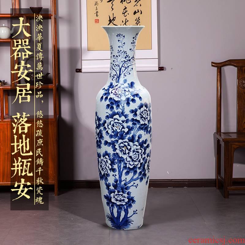 Hand - made jingdezhen ceramics glaze on the new Chinese style of large blue and white porcelain vase peony hotel furnishing articles large living room