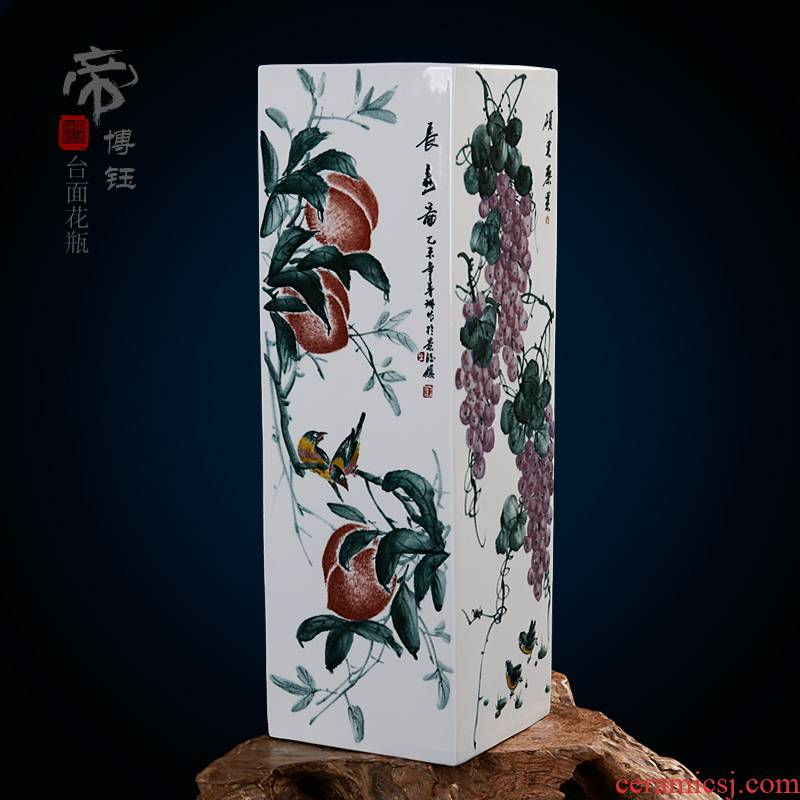 Home fashion pastel blue and white porcelain masterpieces by famous writers, hand - made vases, jingdezhen ceramics compartments, traditional Chinese painting of fruits and vegetables